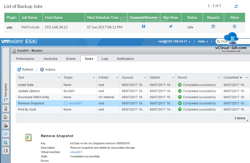 10 Vembu BDR Backup job completed successfully, run now, esxi vm vcenter snapshot backup