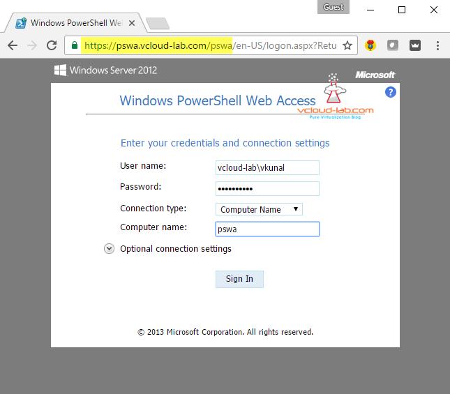 GUI - SETUP AND CONFIGURE POWERSHELL WEB ACCESS SERVER