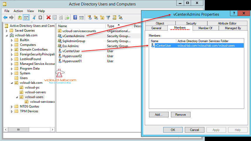 Active Directory Users and Groups vCenter Users and vcenter Admins groups