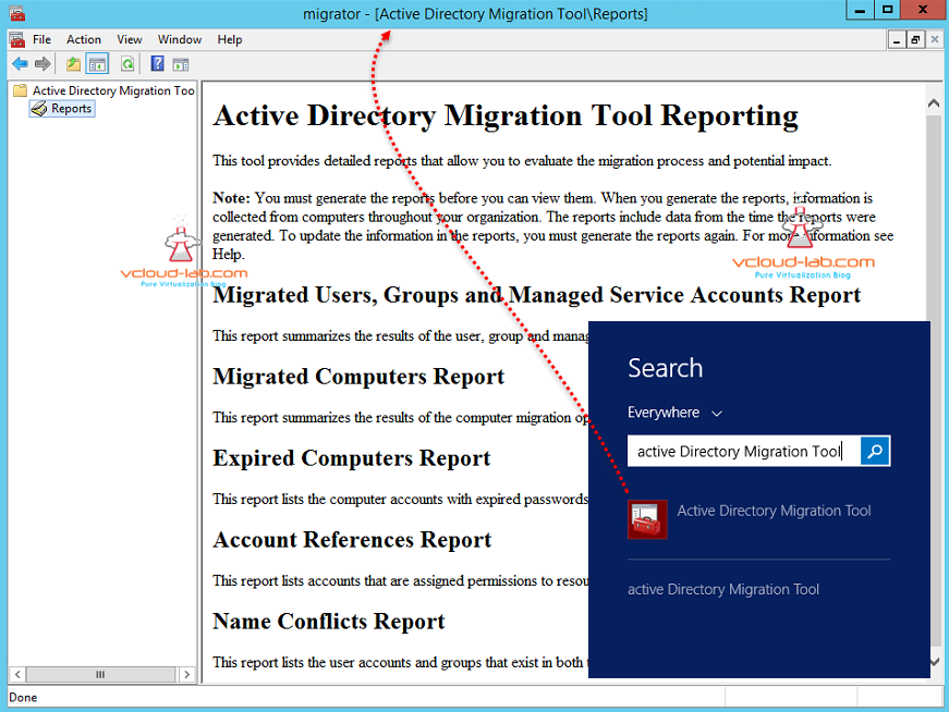 Active Directory migration tool admt tool mmc migration report and console tool