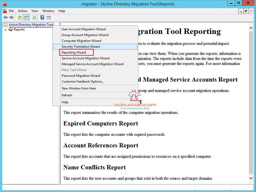 Active directory migration tool reporting wizard reports