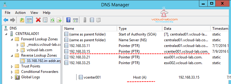 DNS Server forward a and reverse ptr records vcenter