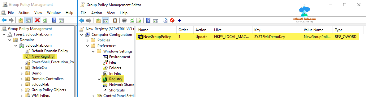 Group policy object, gpo, new registry update, create, registry key hive, value name, registry type