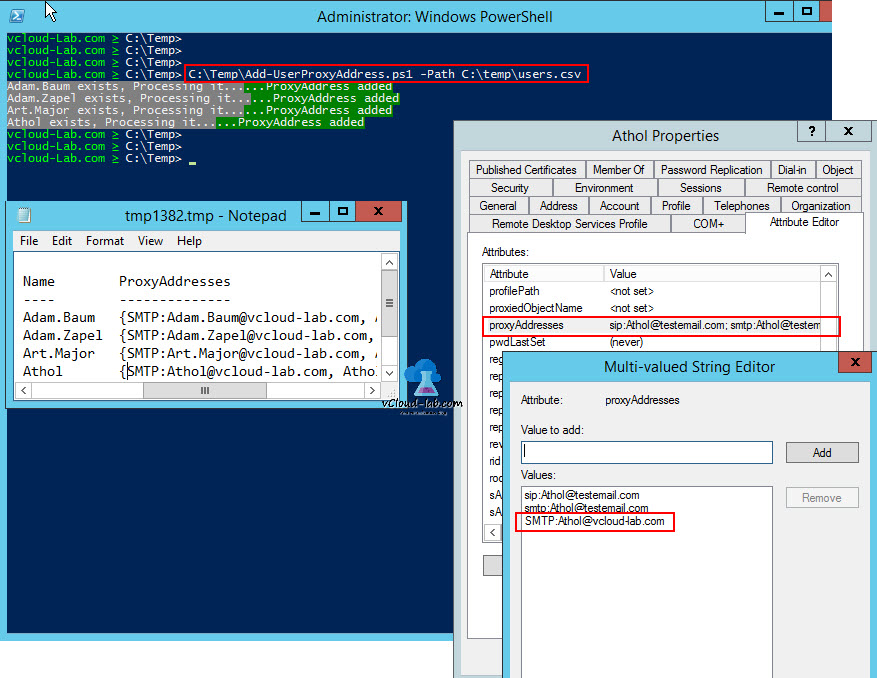 POWERSHELL ACTIVE DIRECTORY: ADD OR UPDATE PROXYADDRESSES IN