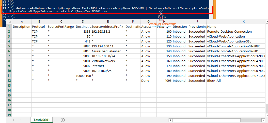 POWERSHELL - EXPORT AZURE NSG (NETWORK SECURITY GROUP) RULES