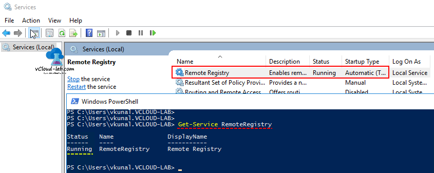 Powershell get registry value data from remote computer for Service registry
