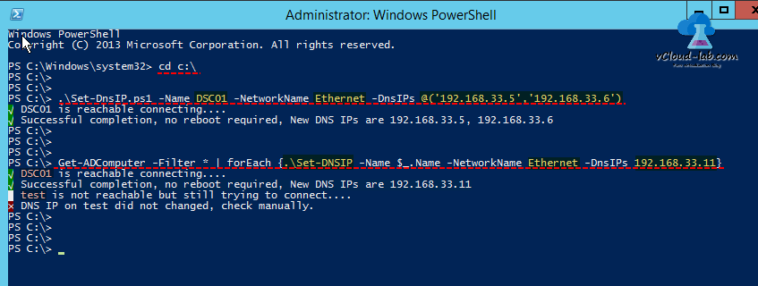 Powershell set dns IP remotely or locally Set-DnsIP Ethernet Physical adapter DnsIp, Get-ADComputer successful completion