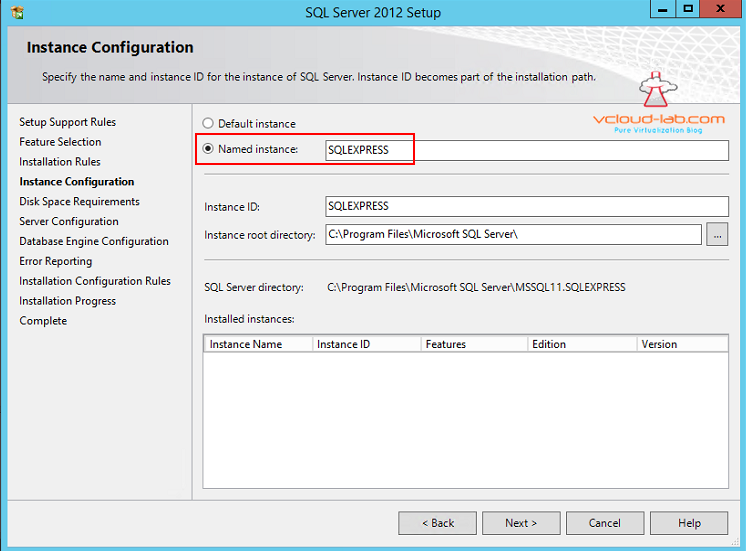 Sql Express 2012 installation Named instance creation
