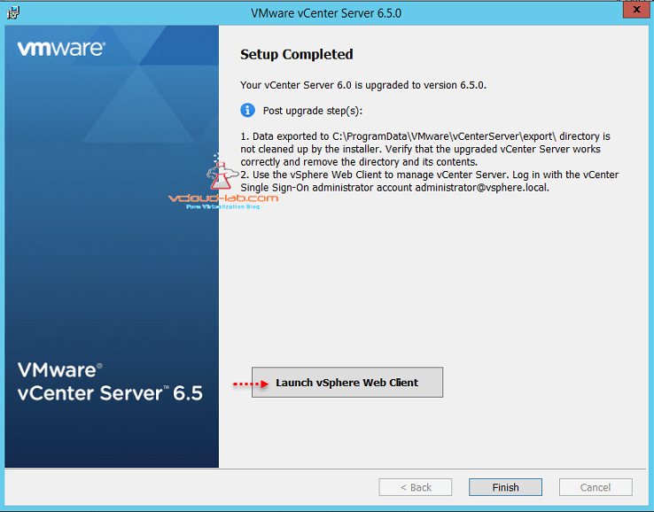VMware vCenter Server 6.5 upgrade setup completed