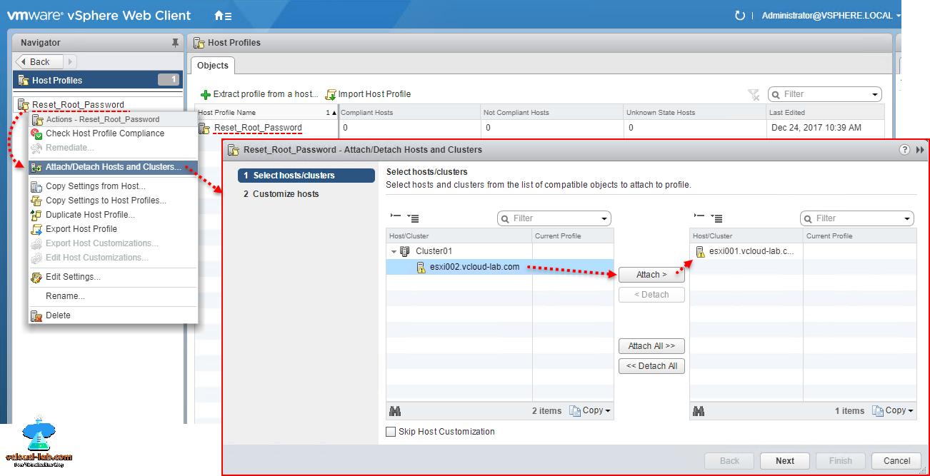 Reset ESXi root password using Host Profiles on vCenter