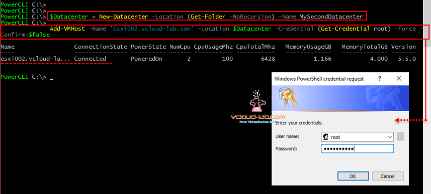POWERCLI - CREATE DATACENTER AND ADD ESXI HOST IN VCENTER
