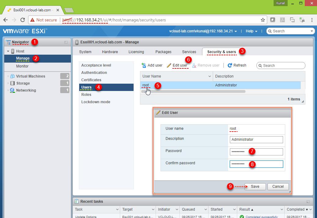 Reset forgotten ESXi root password on Domain joined Esxi