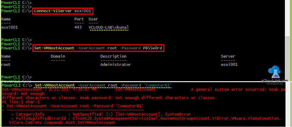 vmware vsphere esxi powercli automation connect-viserver, set-vmhostaccount, get-vmhostaccount, -useraccount password root forgot esxi root password