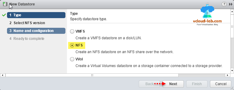 vmware vsphere esxi vcenter, add new datastore, NFS, microsoft windows network file system, NFS datastore, disk lun