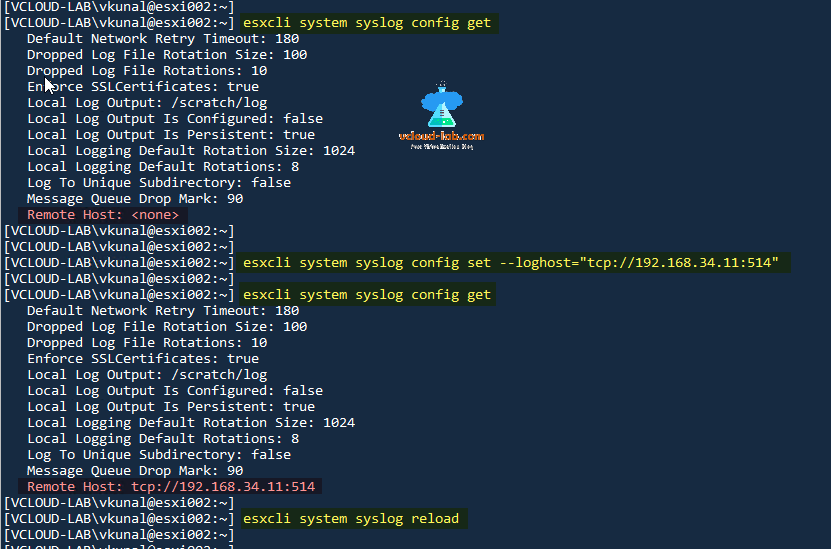 Configure syslog on VMware ESXi hosts: VMware best practices