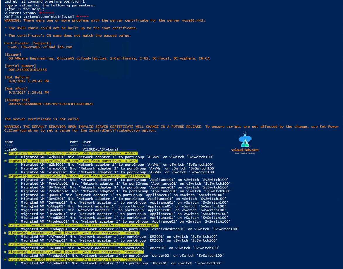 Part 3: VMware Powercli: Migrate VMs to another network | vGeek