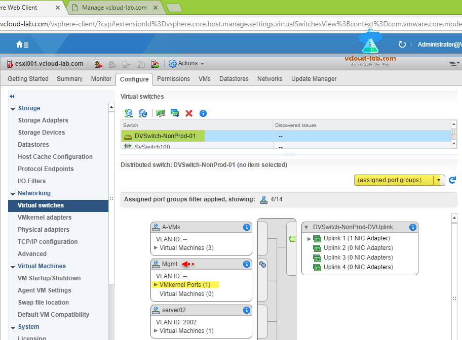 vmware vsphere web client configure esxi vcenter distributed switch migrate to virtual standard switch, assigned port groups filter applied, Migrate VMs to another network screenshots