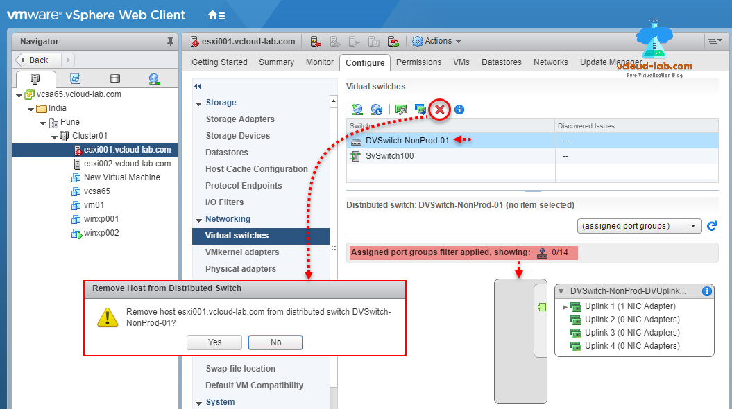 Part 4: Remove ESXi Host from Distributed switch and migrate