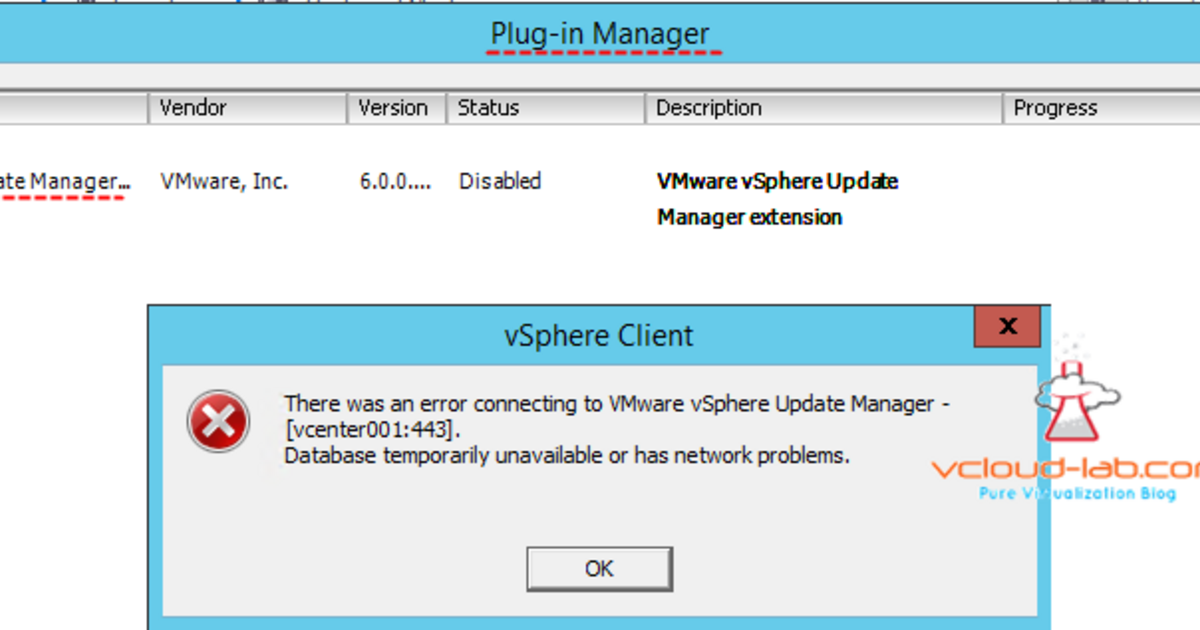 THERE WAS ERROR CONNECTING VMWARE VSPHERE UPDATE MANAGER [VCENTER
