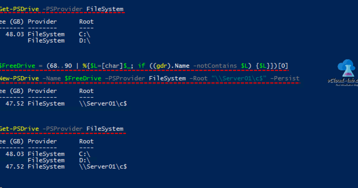 Find next available free drive letter using PowerShell