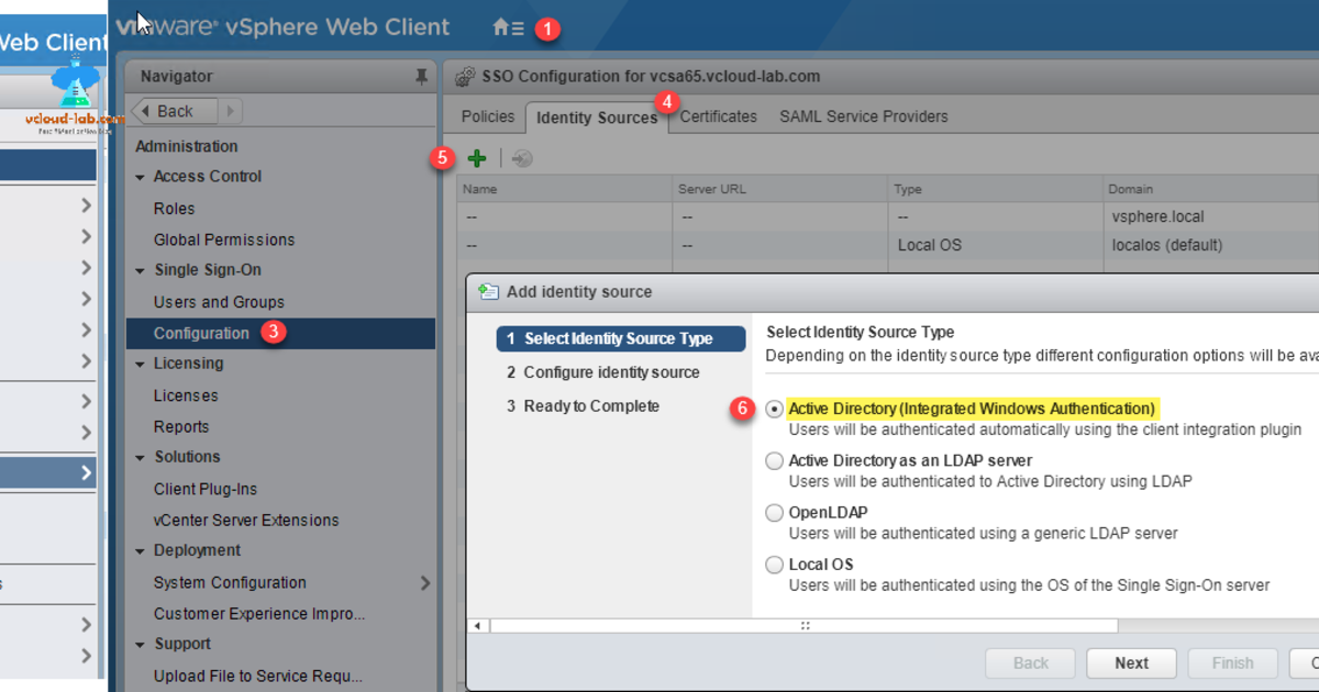 Configuring a vCenter PSC Single sign-on Active directory