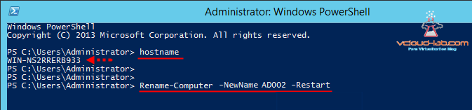 rename-computer -newname ad002 -restart and hostname