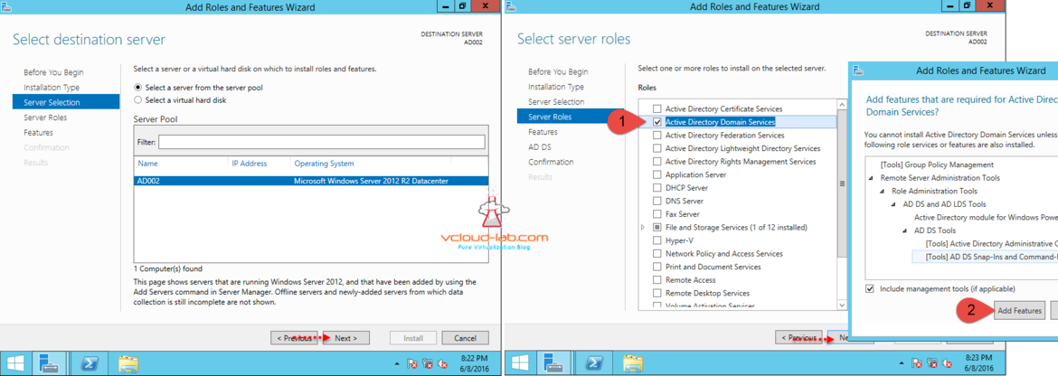 Add active directory roles and features
