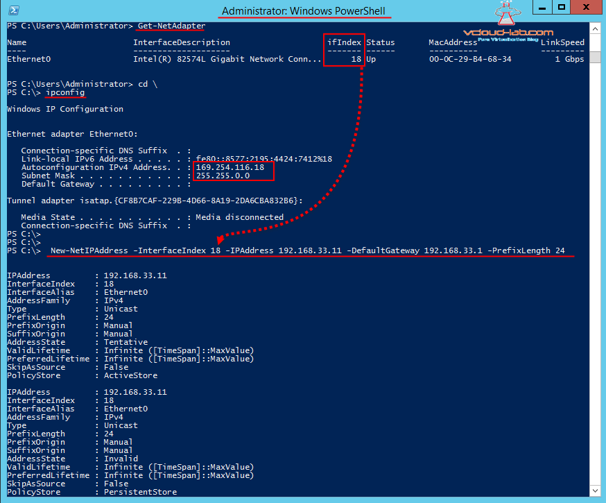 Powershell Get-Netadapter, New-NetIPaddress, assign IP address