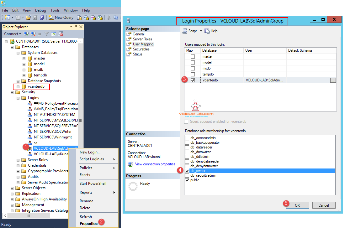 Sql server vcenter database new login user mappings db_owner