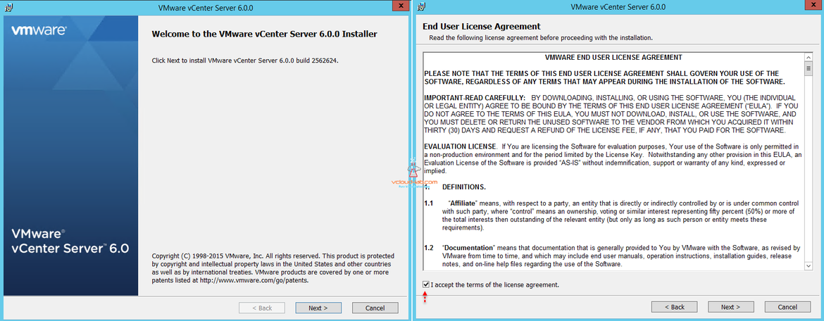 vmware vcenter server 6.0 installer accept eula