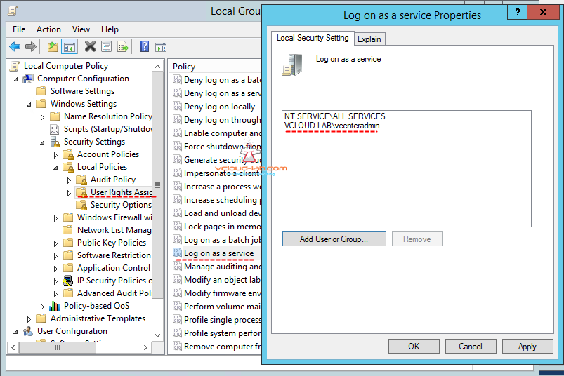 group policy user rights assignment, log on as a service