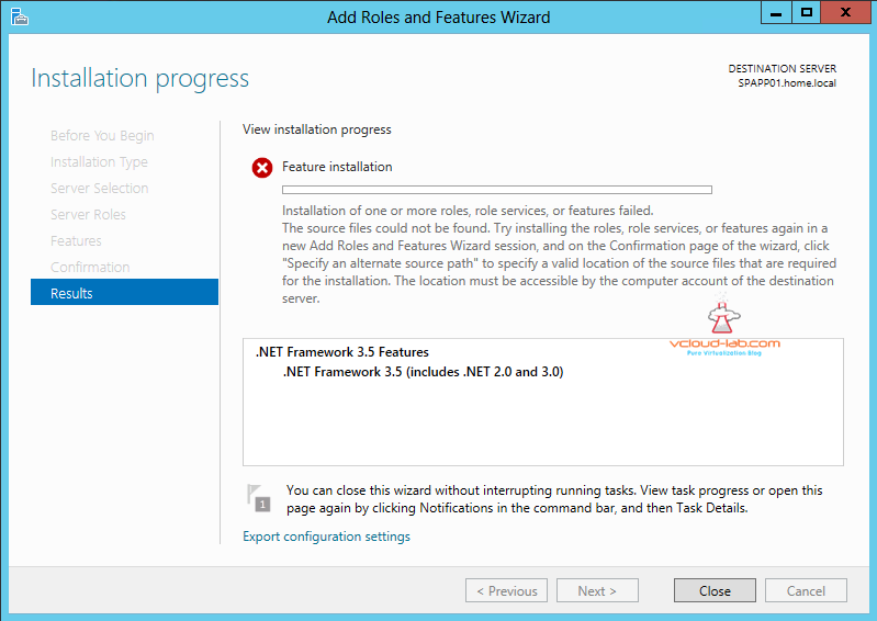 Add Roles and Features Wizard .net 3.5 failed