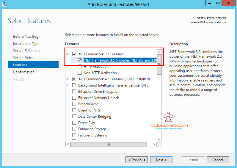 add roles and features .net frameworks 3.5 feature gui