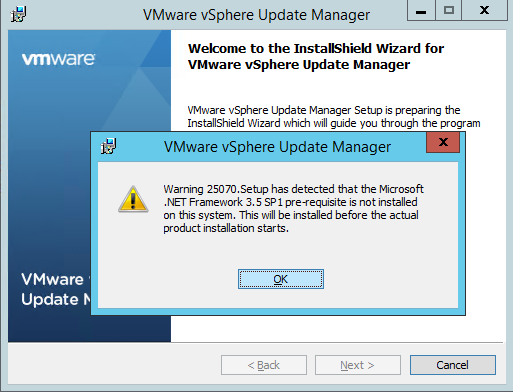 vCenter Update Manager prerequsites installation