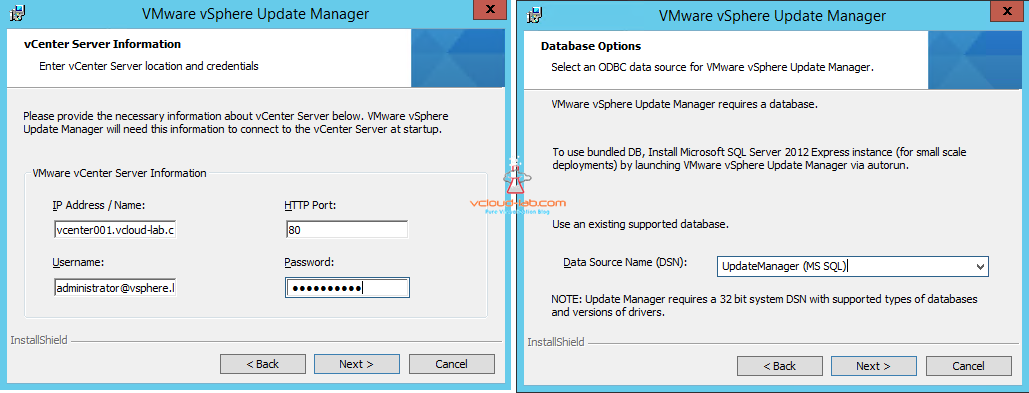 vmware vsphere update manager vcenter server information and database configuration