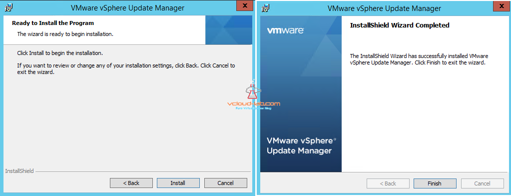 vmware vsphere update manager installation completed