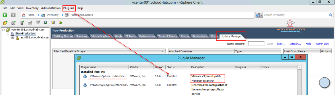 vmware vsphere update manager extention installation enabled
