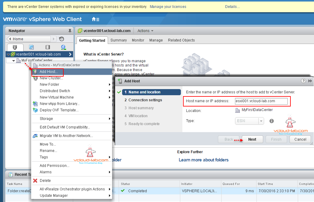 Add new esxi Host vCenter server wizard