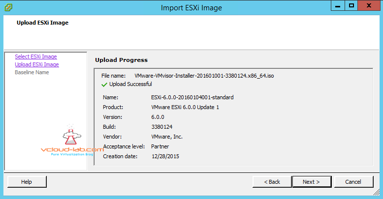 vmware vsphere update manager VUM upload import esxi image ISO