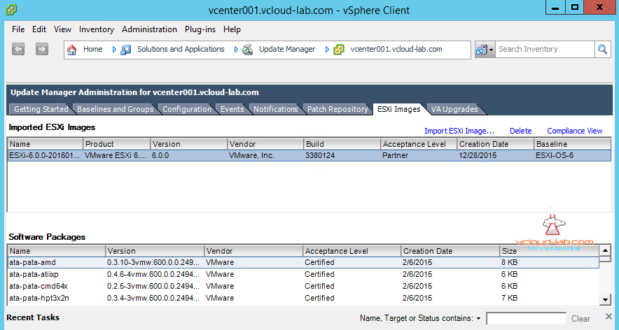 vum vmware update manager imported esxi images and software packages