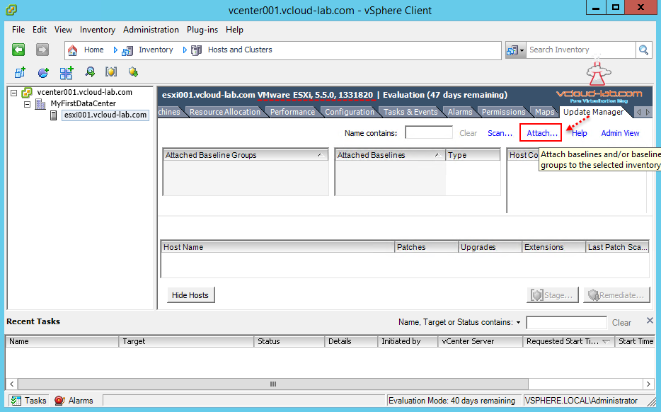 vum vmware update manager upgrade esxi server attach baseline