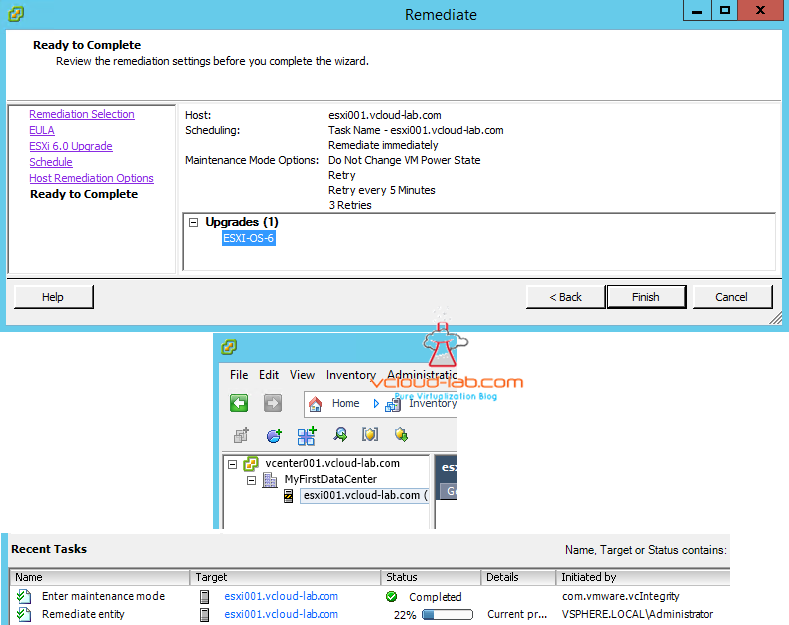 vum vmware update manager upgrade remediate schedule time Maintenacne Mode options and recent tasks