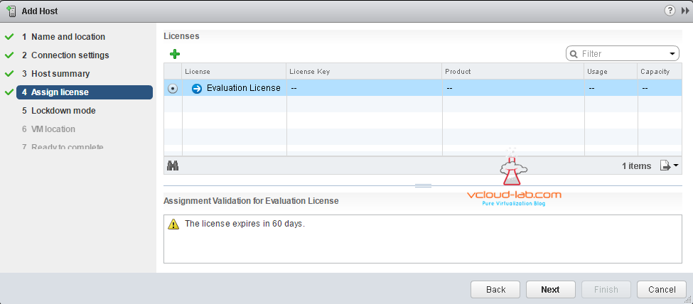 Add Esxi host in vcneter assign license evalutaion version