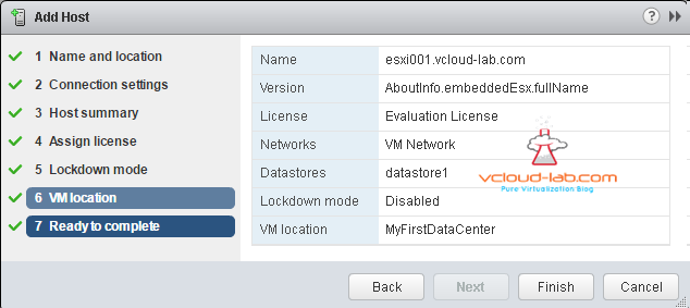 vcenter Add esxi host ready to complete summary
