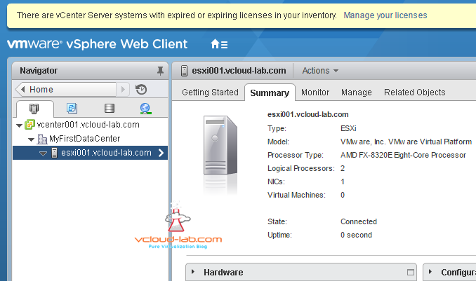Adding first esxi server in vcenter server