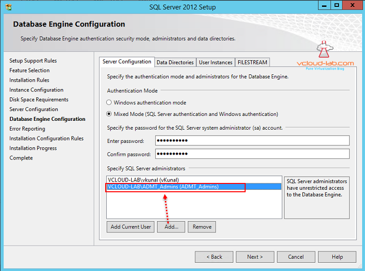Sql Express 2012 installation add sql server administrators and mixed mode windows authetication