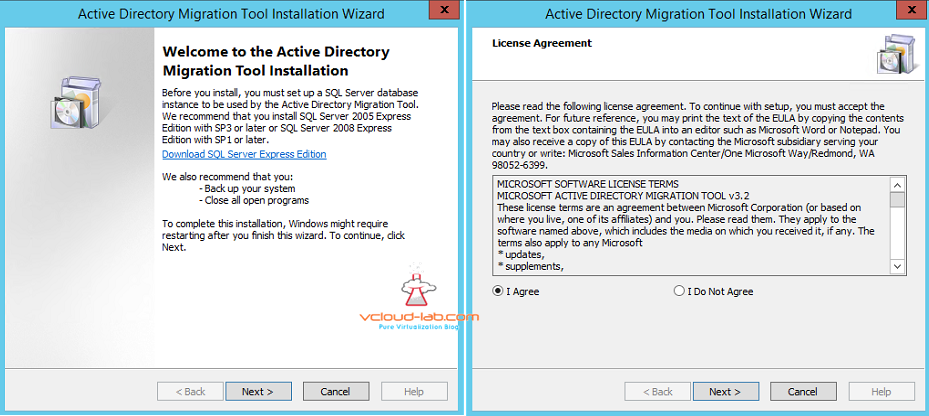 active directory migration tool installation wizard backu and EULA