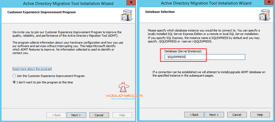 Active directory Migration Tool selecting sql server database instance