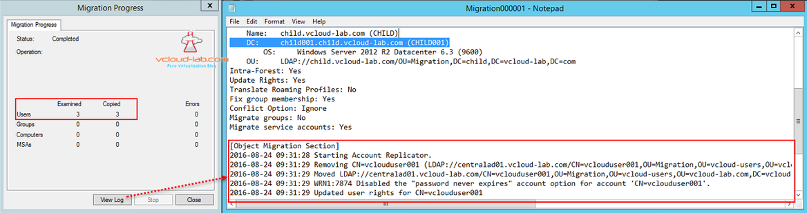 Active directory migration tool migration process examined copied errors, view logs