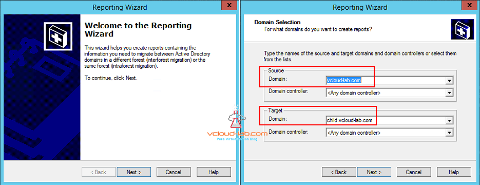 active directory migration reporting wizard intraforest interforest source Target